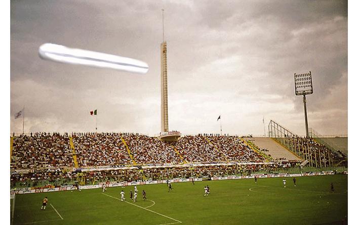UFO Over Stadium Depiction