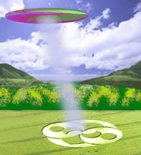 UFO Depiction Creating Crop Circle