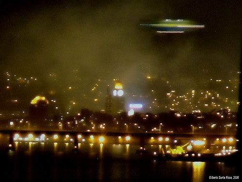 UFO over City Depiction