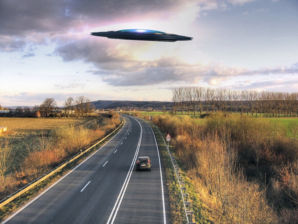 UFO Following Car Depiction