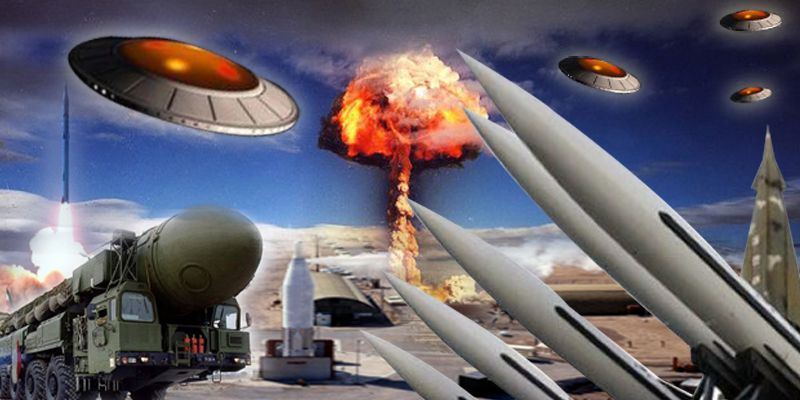 UFOs over Nuclear Missile Site Depiction
