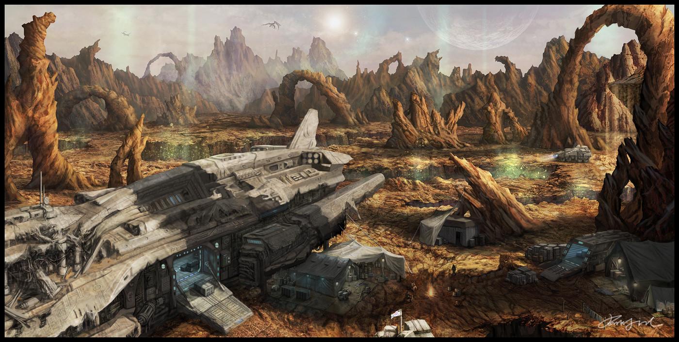 Spaceship Crash Depiction